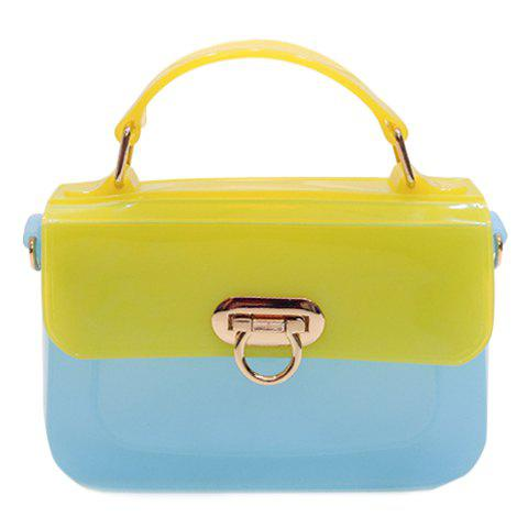 Fashion Candy Color and Hasp Design Women's Tote Bag - BLUE/YELLOW