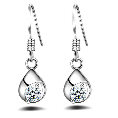 Pair of Water Drop Rhinestone Earrings - SILVER