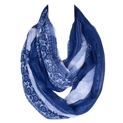 Chic Ethnic Paisley Pattern Deep Blue and White Women's Voile Bib Scarf