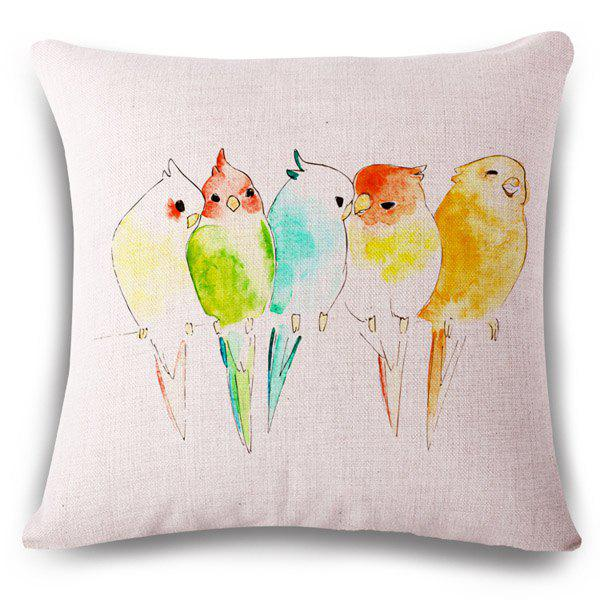 Stylish Colorful Birds Illustrations Pattern Flax Pillowcase (Without Pillow Inner) - COLORMIX