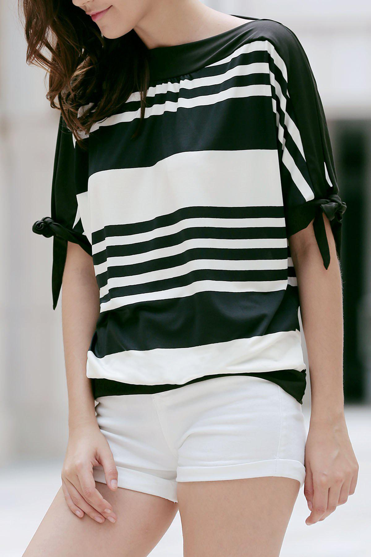 Casual Black and White Striped Short Sleeve Women's T-Shirt - WHITE/BLACK XL