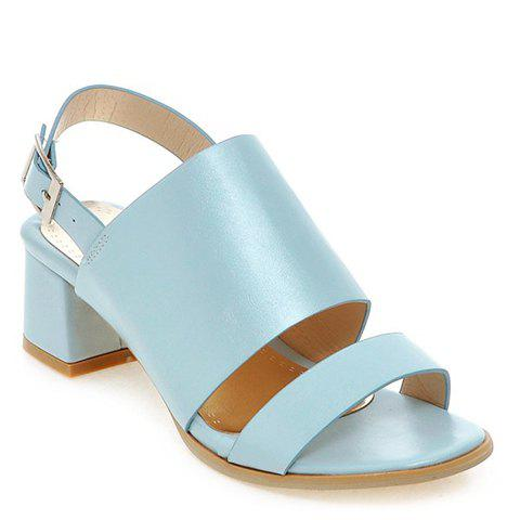 Fashionable PU Leather and Solid Colour Design Womens SandalsShoes<br><br><br>Size: 35<br>Color: LIGHT BLUE