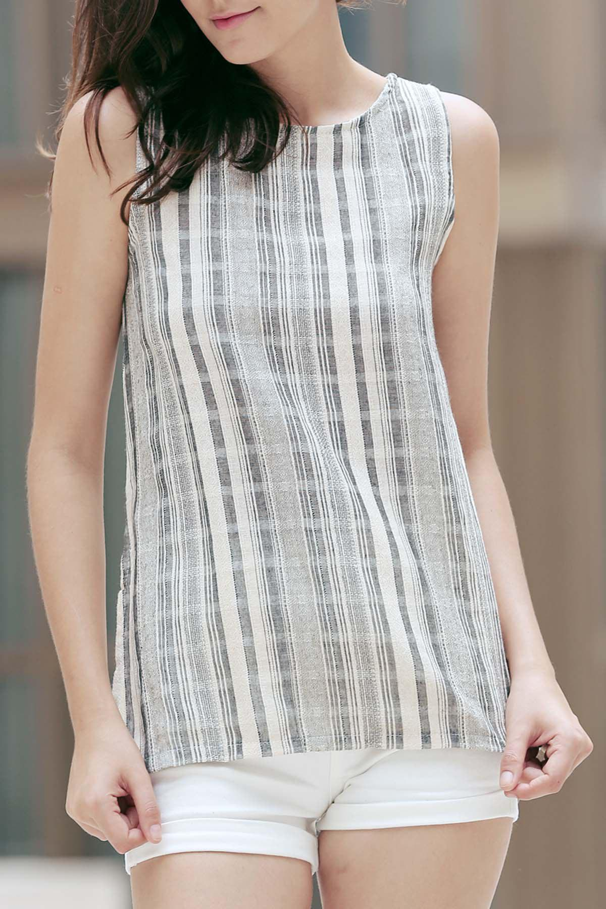 Stylish Round Neck Sleeveless Striped High Low Tank Top For WomenWomen<br><br><br>Size: M<br>Color: COLORMIX
