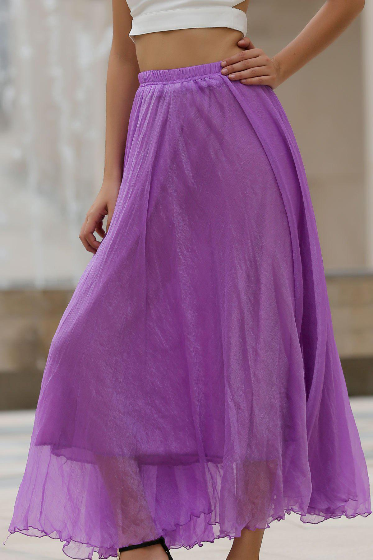 Stylish Elastic Waist Solid Color Women's Chiffon Skirt - PURPLE S
