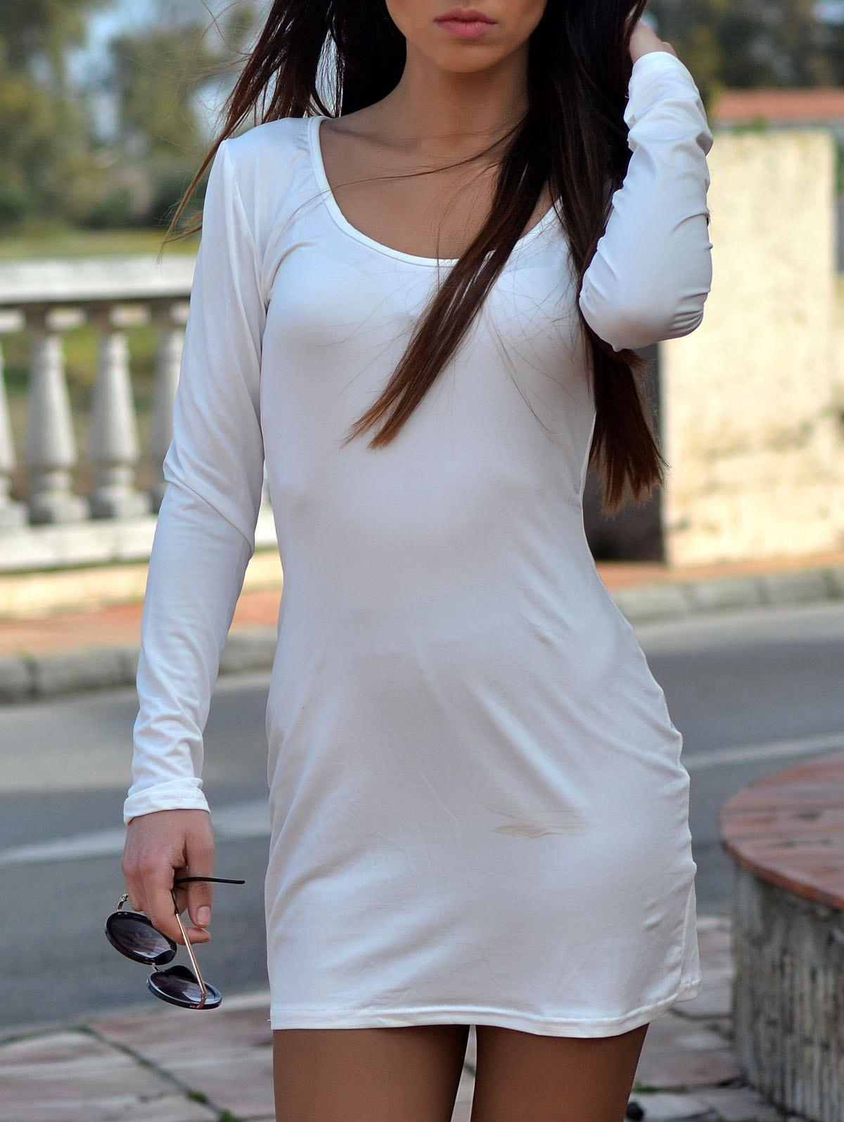 Fashion Alluring White U-Neck Long Sleeve Dress For Women trendy women s u neck white long sleeve dress