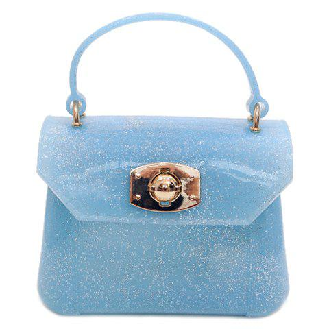 Sweet Solid Color and Hasp Design Women's Tote Bag - LIGHT BLUE
