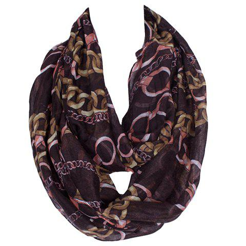 Chic Alloy Chains Pattern Women's Voile Bib Scarf - DEEP BROWN