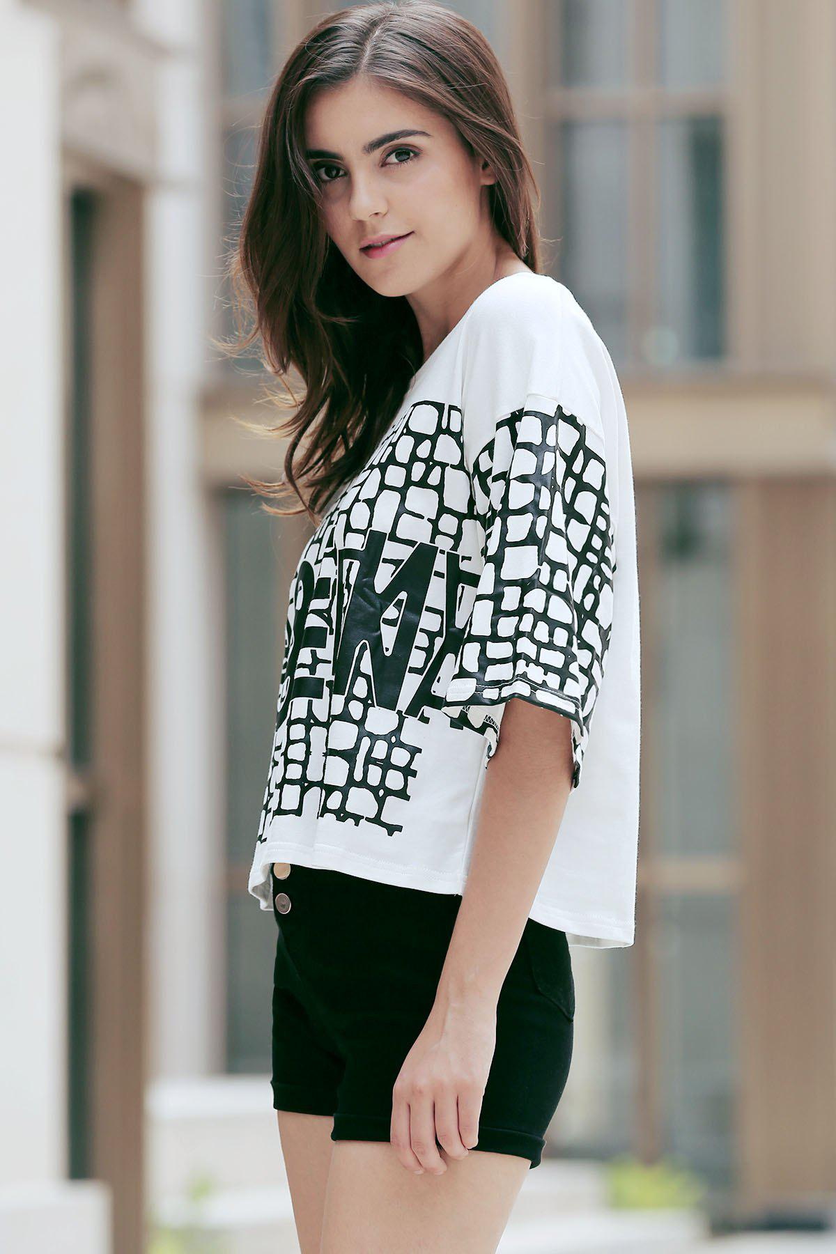 Fashionable Women's 1/2 Sleeve Pattern Print T-Shirt - WHITE ONE SIZE(FIT SIZE XS TO M)