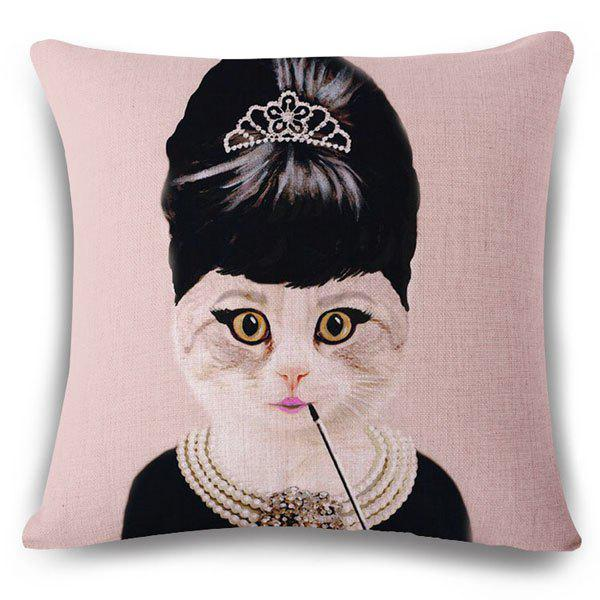 Stylish Kitten and Audrey Hepburn Pattern Square Shape Flax Pillowcase (Without Pillow Inner) - COLORMIX