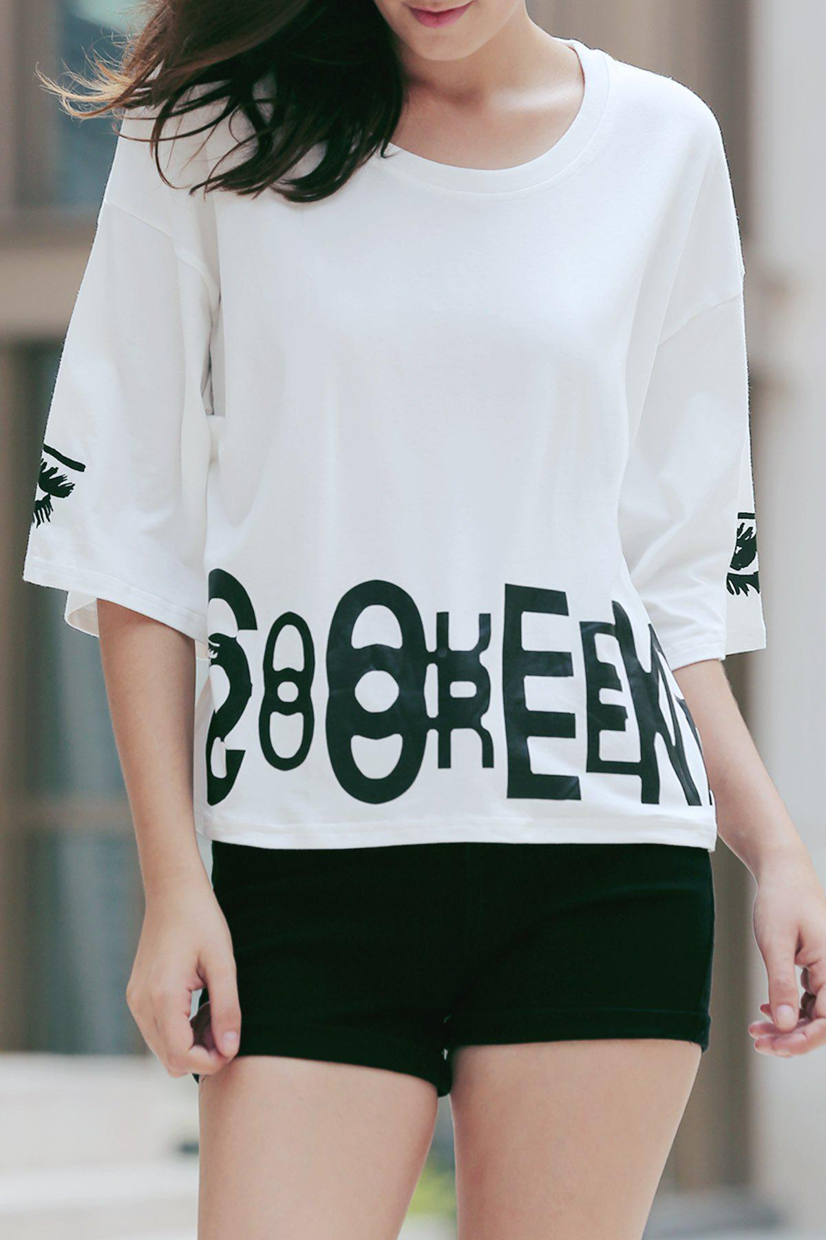 Fashionable Women's 1/2 Sleeve Pattern Print Loose-Fitting T-Shirt - WHITE ONE SIZE(FIT SIZE XS TO M)