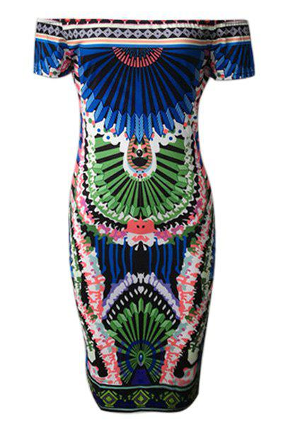 Alluring Off-The-Shoulder Colorful Bodycon Printed Dress For Women - COLORMIX S
