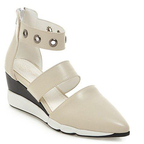 Fashionable Zipper and Pointed Toe Design Women's Wedge Shoes - OFF WHITE 35
