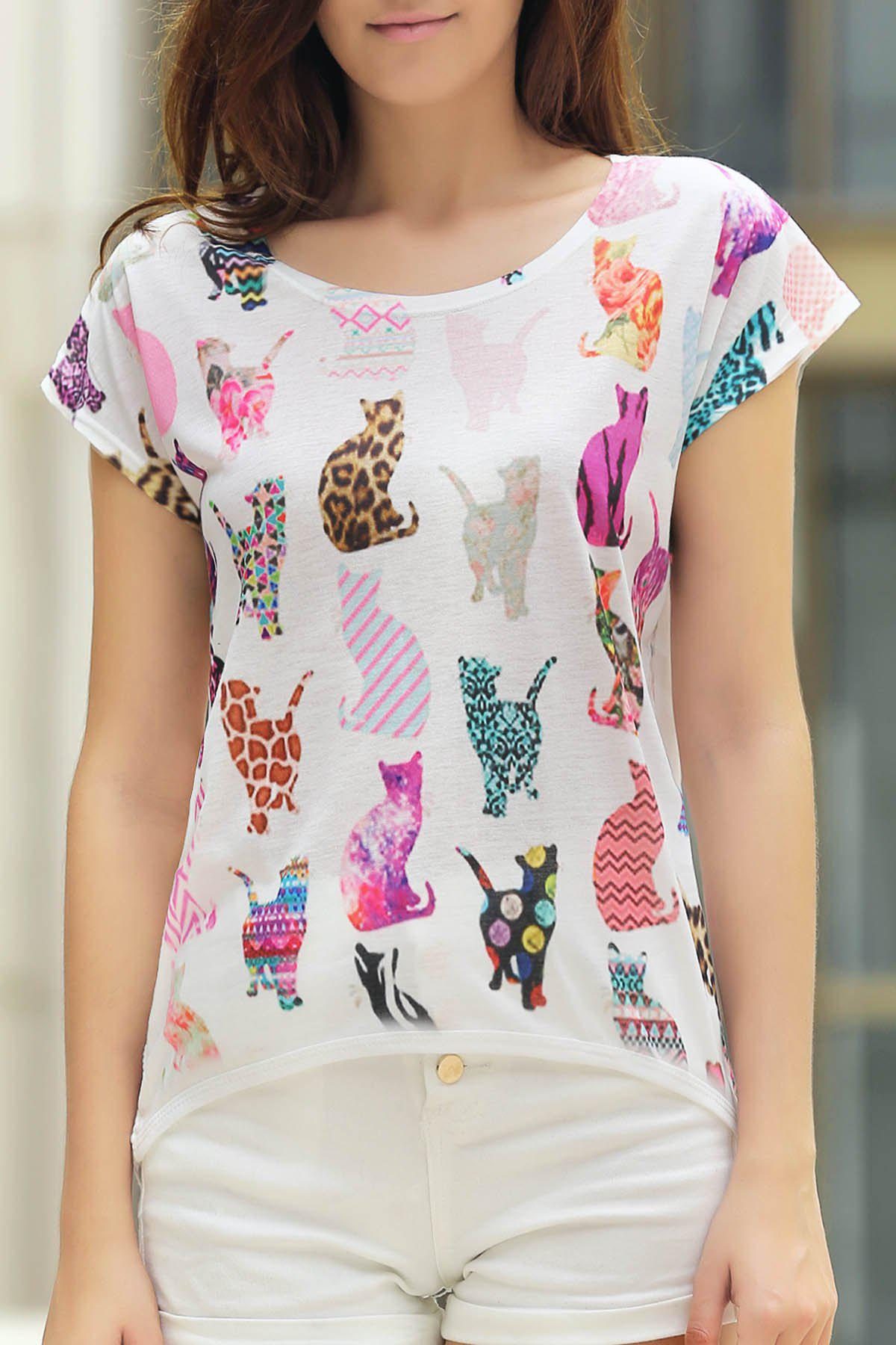 Stylish Round Neck Short Sleeve Cats Print Women's High Low T-Shirt
