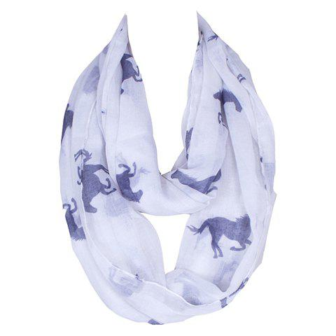 Chic Blue Small Horse Scrawl Pattern Women's White Voile Bib Scarf