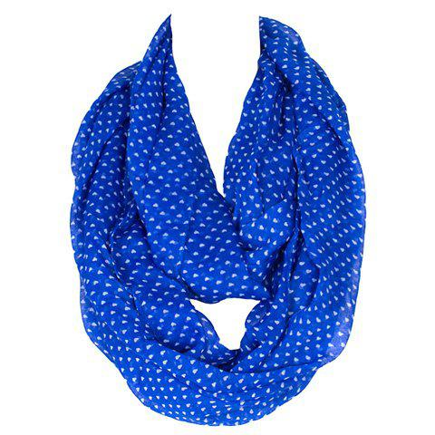 Chic Small White Heart Pattern Women's Blue Voile Bib Scarf - BLUE