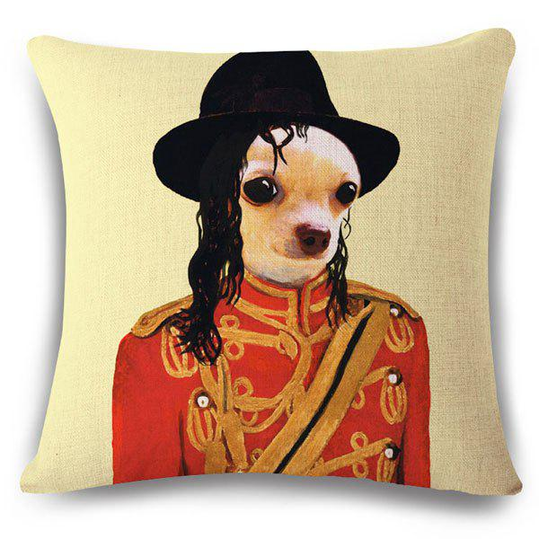 Stylish Puppy and Michael Jackson Pattern Square Shape Flax Pillowcase (Without Pillow Inner) - COLORMIX