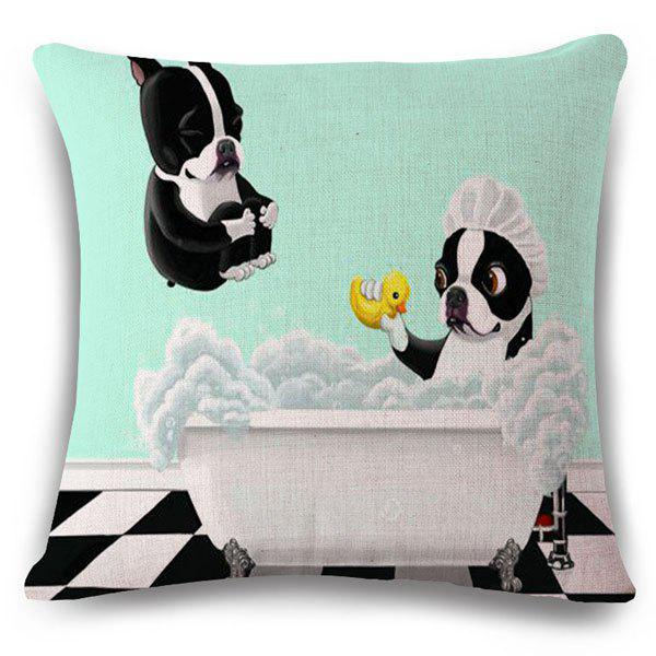 Stylish Bathing Bulldog Pattern Square Shape Flax Pillowcase (Without Pillow Inner) - COLORMIX