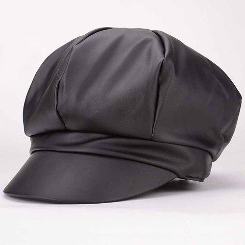 Chic PU Leather Solid Color Octagonal Newsboy Hat For Women - BLACK