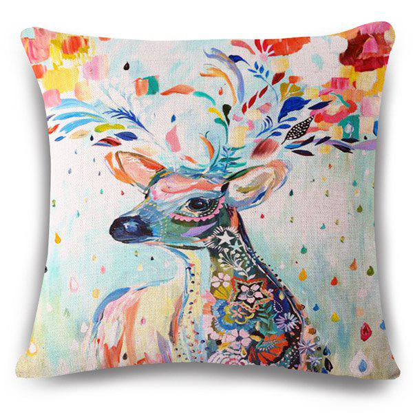 Fashion Deer Colored Painting Pattern Square Shape Pillowcase (Without Pillow Inner)
