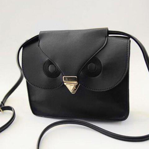 Retro Hasp and Owl Design Crossbody Bag For Women - BLACK