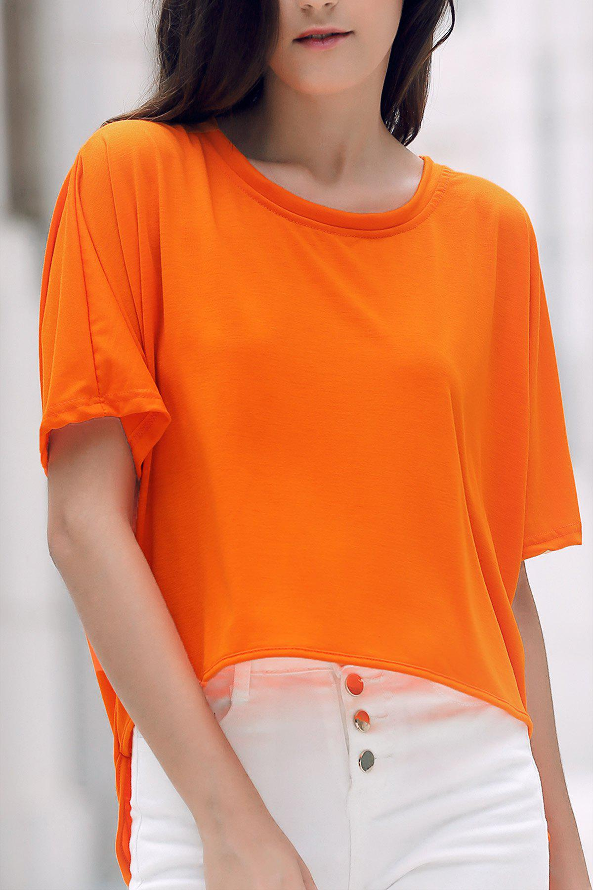 Concise Solid Color Batwing Sleeve Asymmetric T-Shirt Dress For Women - ORANGE ONE SIZE(FIT SIZE XS TO M)