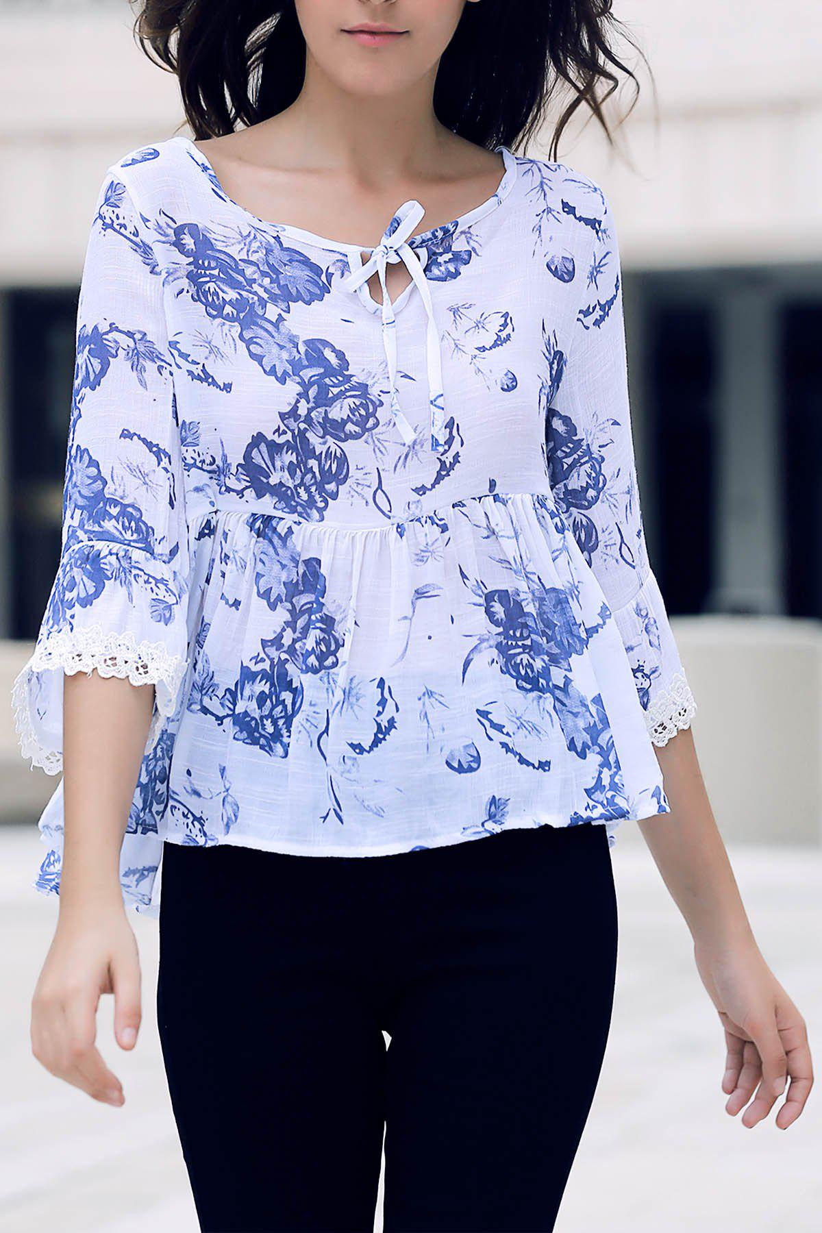 Stylish V-Neck Half Sleeve Printed Flounced Women's Blouse - WHITE ONE SIZE(FIT SIZE XS TO M)