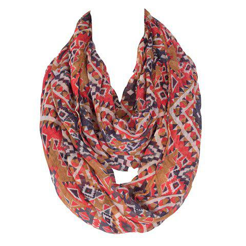 Chic Bohemian Rhombus Pattern Women's Voile Bib Scarf - LIGHT COFFEE