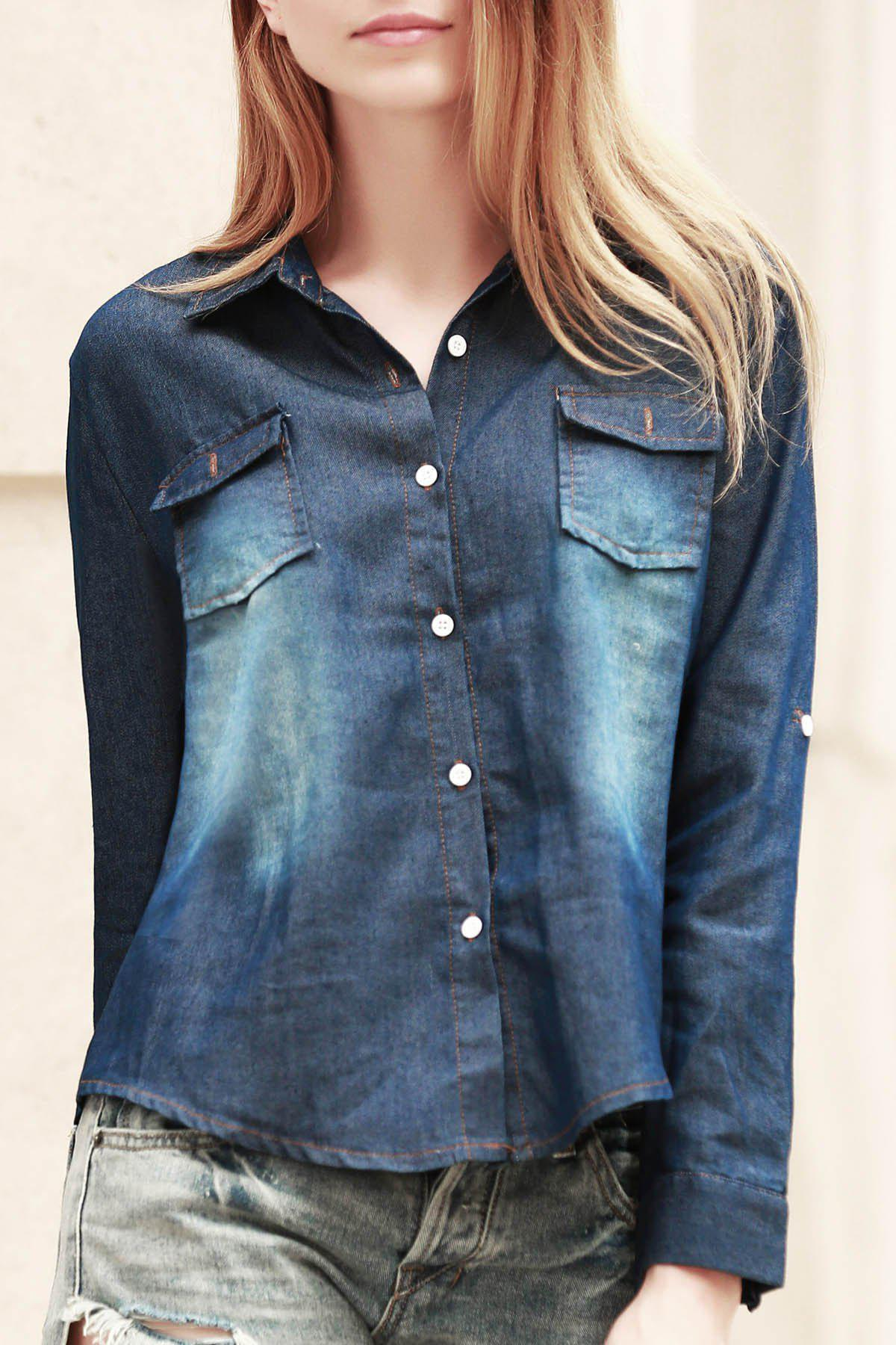 Fashionable Long Sleeve Shirt Collar Pocket Design Denim Women's Shirt - DEEP BLUE S