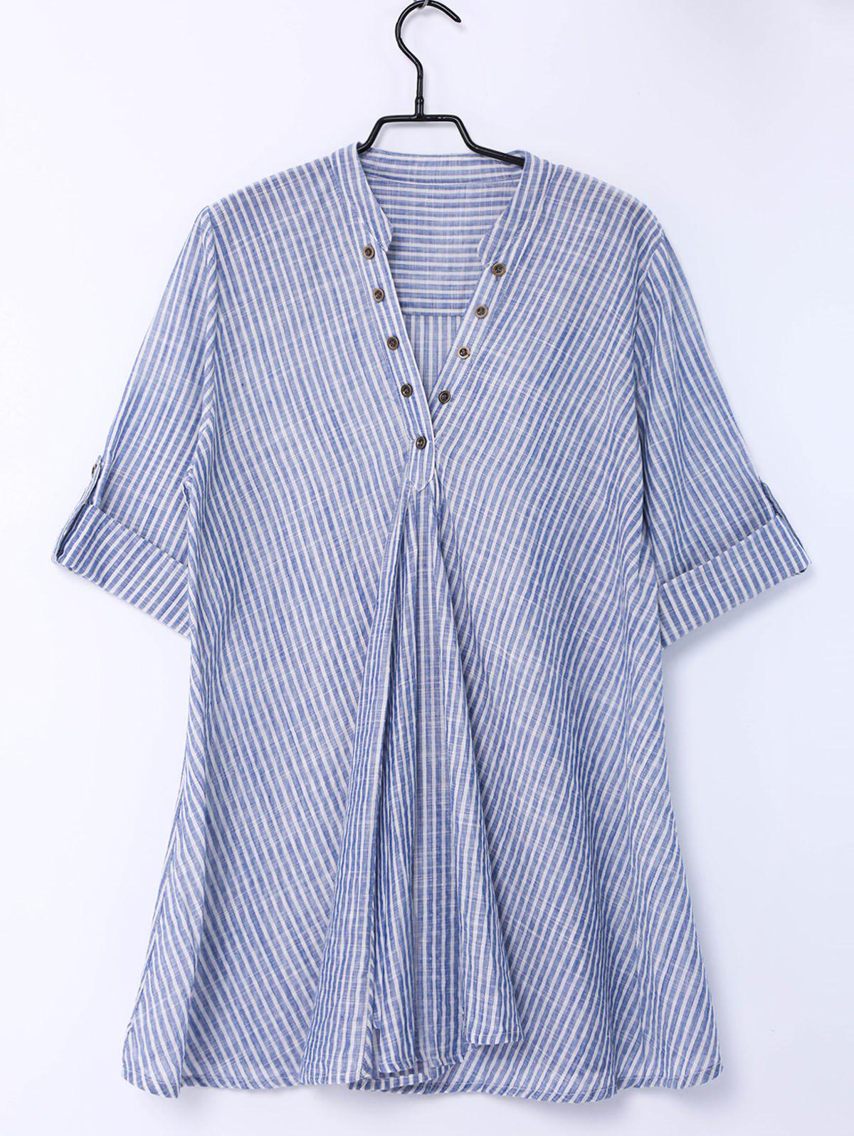 Trendy Pinstriped Short Sleeve Blouse For Women - STRIPE M