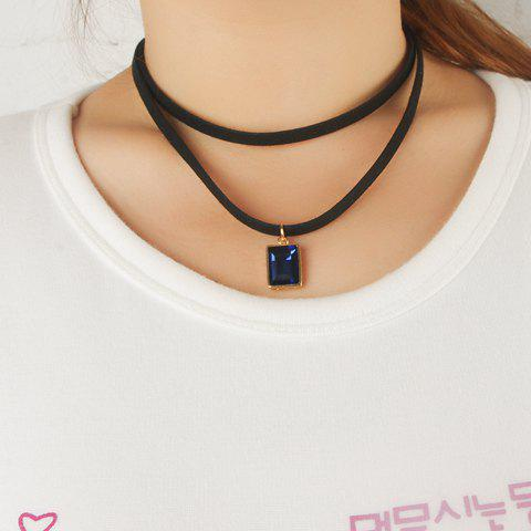 Chic Rectangle Faux Gem Embellished Women's Black Chokers Chain