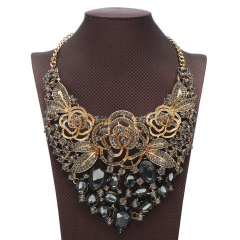 Alloy Rhinestone Flower Hollow Out Necklace - GRAY