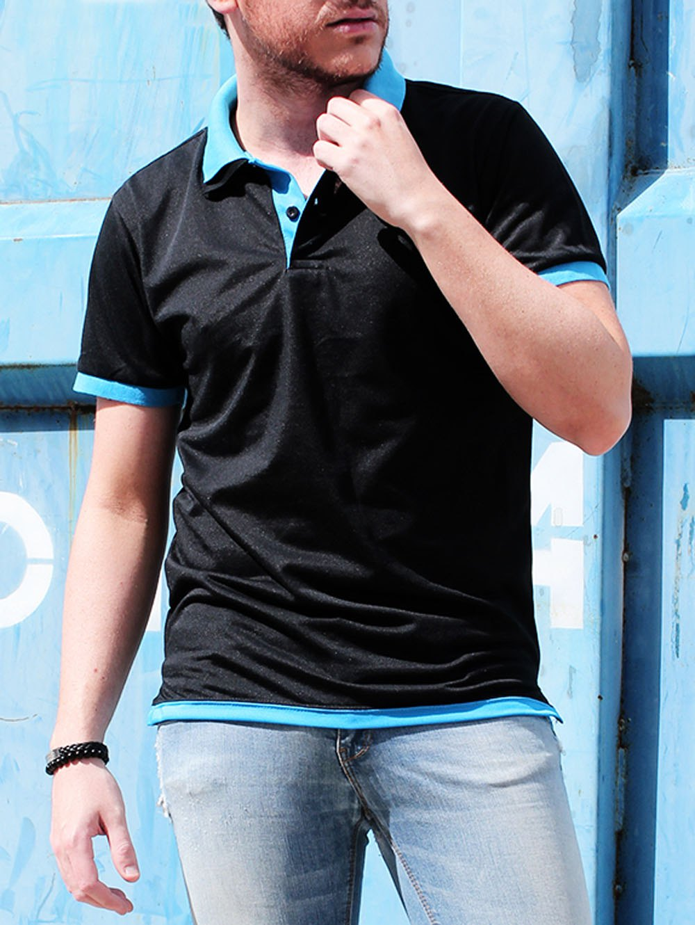 Color Block Double Layered Turn Down Collar Short Sleeve Cotton Polo Shirt For Men - BLUE/BLACK M