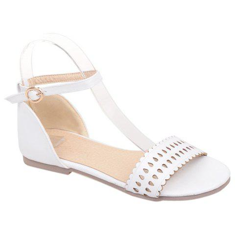 Preppy Style Solid Color and Flat Heel Design Women's Sandals - WHITE 36