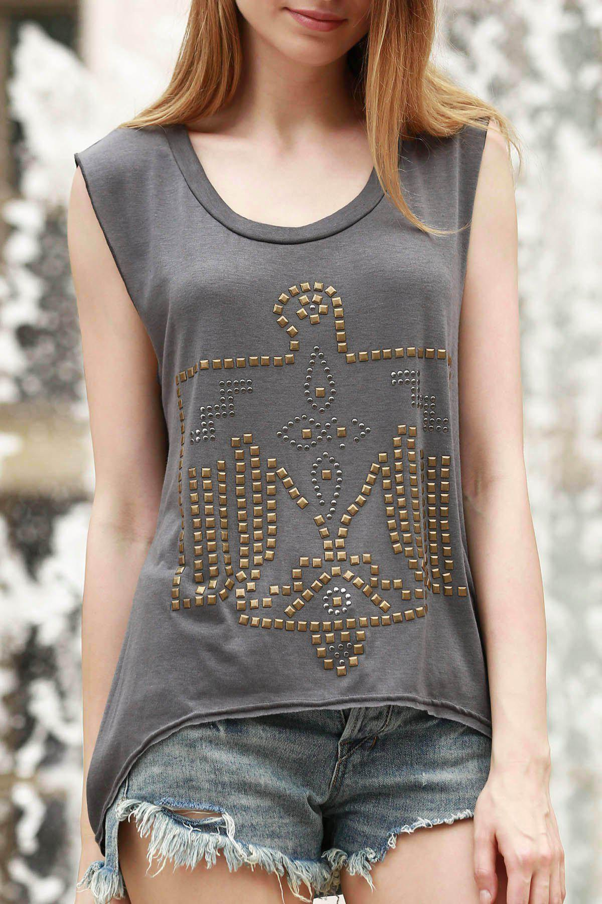 Trendy Studs Eagle Embellished Asymmetrical Tank Top For Women - GRAY L