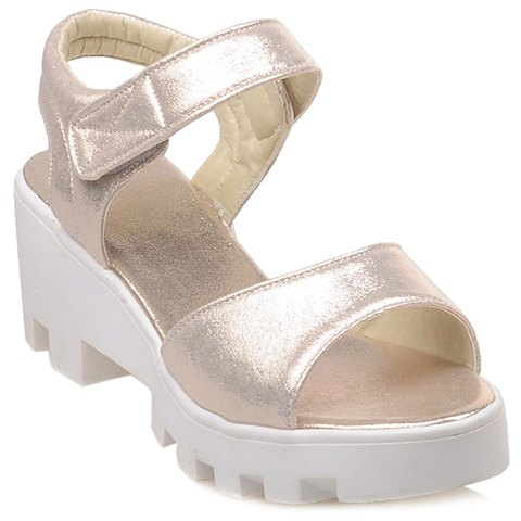 Stylish PU Leather and Platform Design Women's Sandals - GOLDEN 38