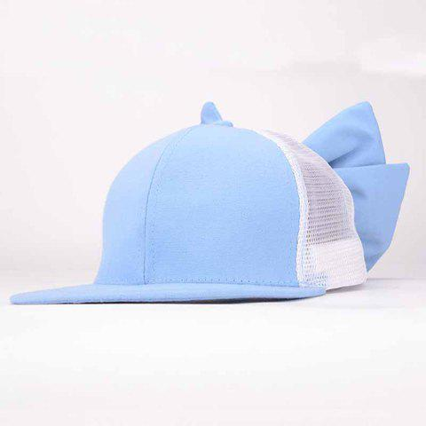 Chic Bowknot Decorated Spliced Mesh Baseball Hat For Women - LIGHT BLUE