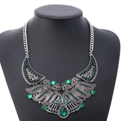 Alloy Rhinestone Water Drop Necklace - GREEN