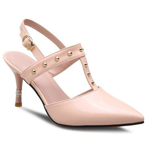Elegant Rivets and Pointed Toe Design Women's Sandals - LIGHT PINK 36