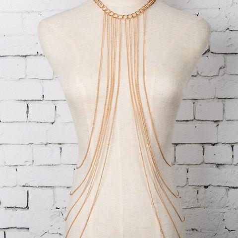 Chic Multilayered Tassel Women's Alloy Body Chain - GOLDEN