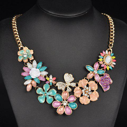 Artificial Gems Rhinestones Flower Necklace - COLORMIX