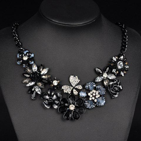 Gorgeous Rhinestones Artificial Crystals Flower Necklace For Women - COLORMIX