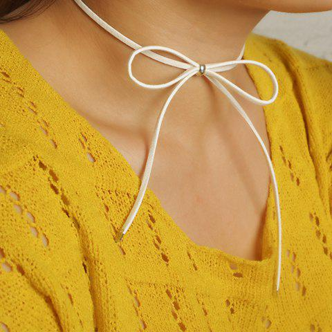 Hollow Out Bow Embellished Chokers - WHITE