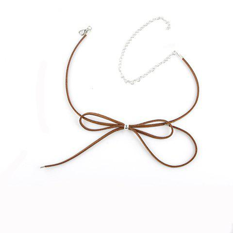 Hollow Out Bow Embellished Chokers - BROWN