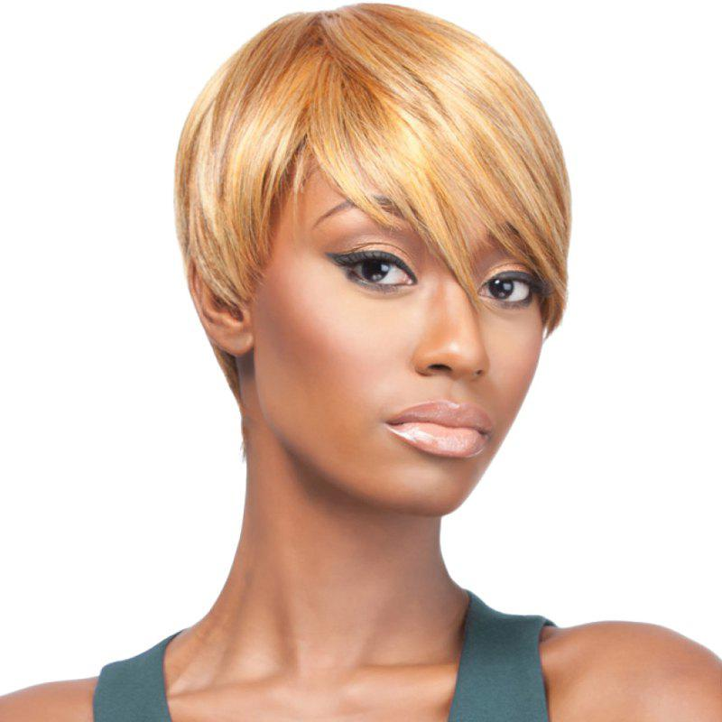 Fashion Blonde Mixed Side Bang Capless Straight Short Women's Synthetic Wig - COLORMIX