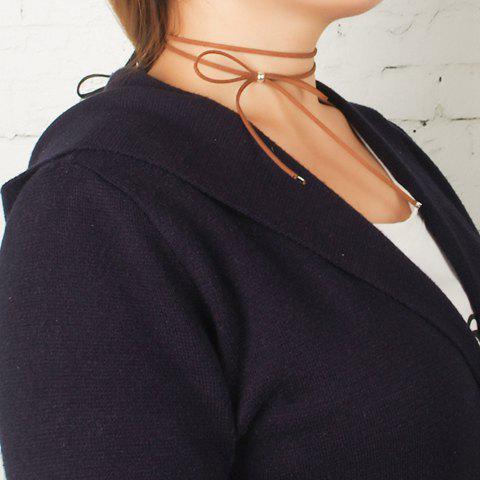 Punk Bowknot Velvet Choker Necklace - BROWN