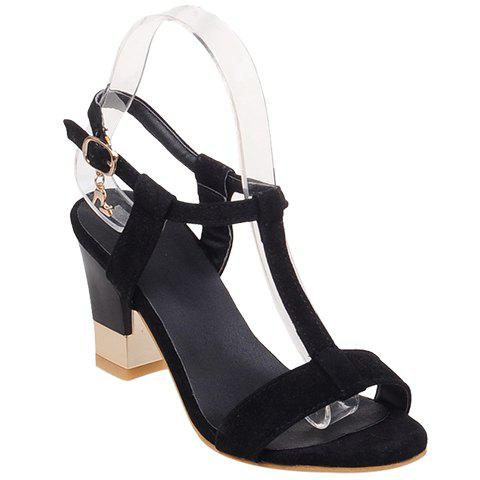 Trendy Suede and T-Strap Design Women's Sandals - BLACK 36