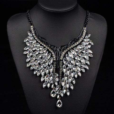 Artificial Crystals Oval Wings Necklace -  WHITE