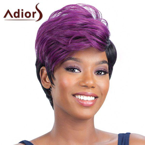 Fluffy Straight Synthetic Trendy Purple Ombre Black Short Capless Adiors Wig For Women - OMBRE