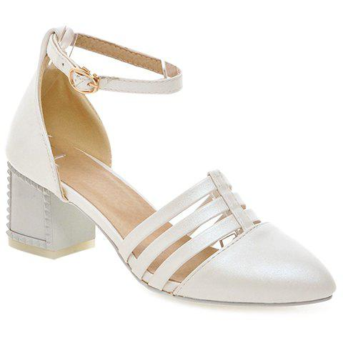 Stylish Pointed Toe and Two-Piece Design Women's Pumps - WHITE 36