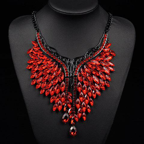 Artificial Ruby Oval Wings Necklace - RED